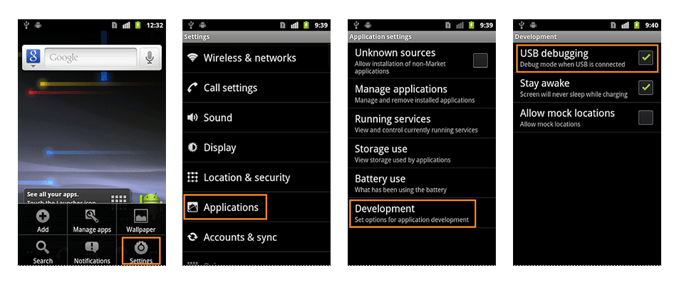 USB Debugging Option -Android 2.0
