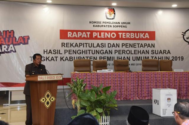 Bupati Soppeng Apresiasi Rapat Pleno Rekapitulasi Berjalan Lancar