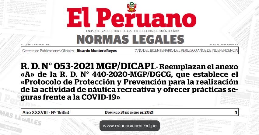 R. D. N° 053-2021 MGP/DICAPI.- Reemplazan el anexo «A» de la R. D. N° 440-2020-MGP/DGCG, que establece el «Protocolo de Protección y Prevención para la realización de la actividad de náutica recreativa y ofrecer prácticas seguras frente a la COVID-19»