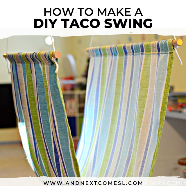 Homemade taco swing tutorial - how to make a sensory swing for kids from scratch!