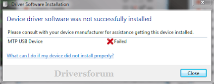Android MTP Device Driver Failed