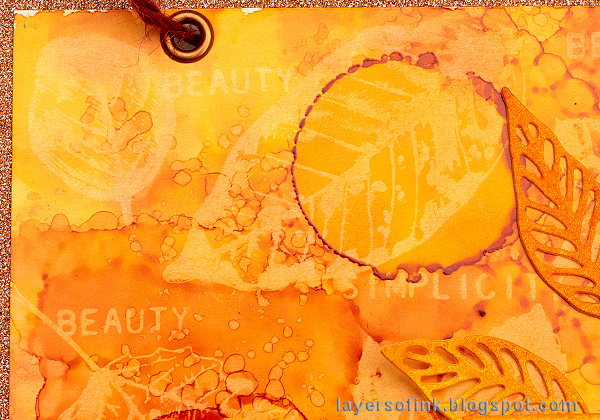 Layers of ink - Alcohol Ink Lift Background Tutorial by Anna-Karin Evaldsson, with Tim Holtz Nature's Wonder stamps