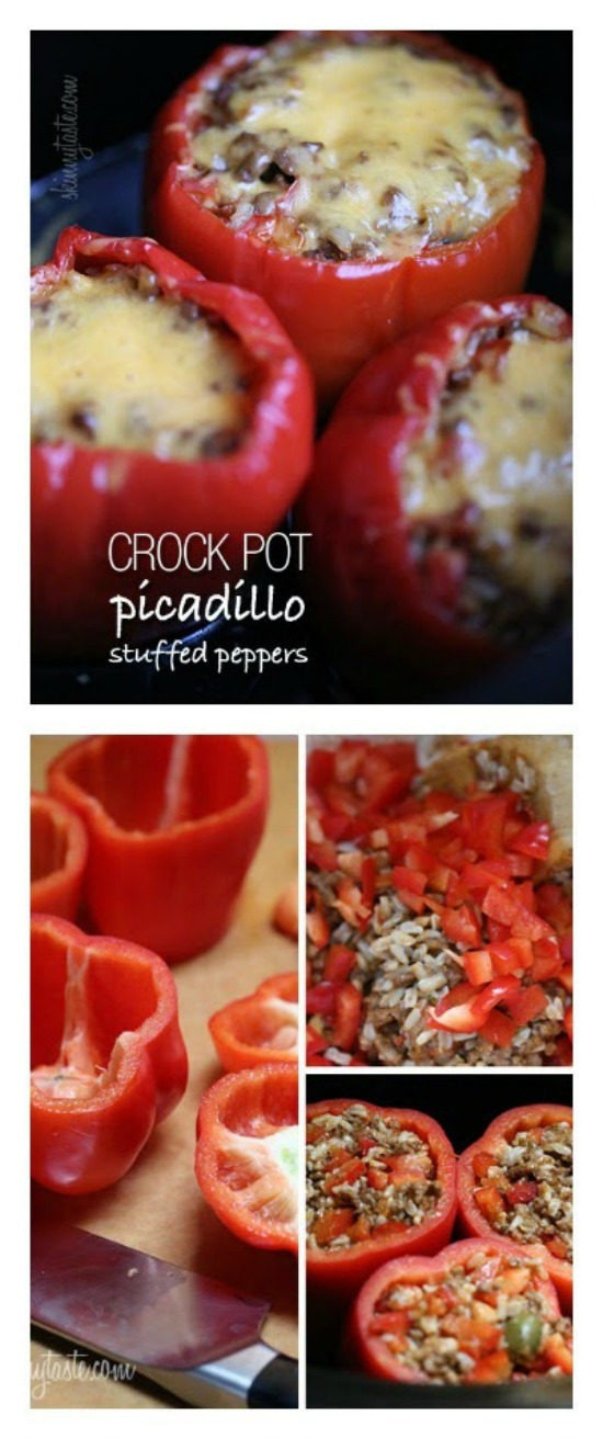Crock Pot Picadillo Stuffed Peppers from Skinnytaste featured on SlowCookerFromScratch.com
