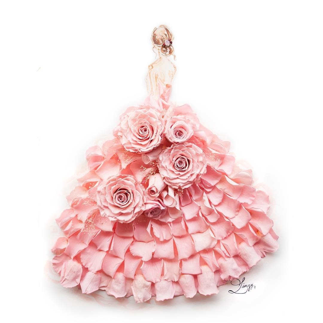 15-Flutterby-Limzy-Real-Flowers-in-Drawings-of-Dresses-www-designstack-co