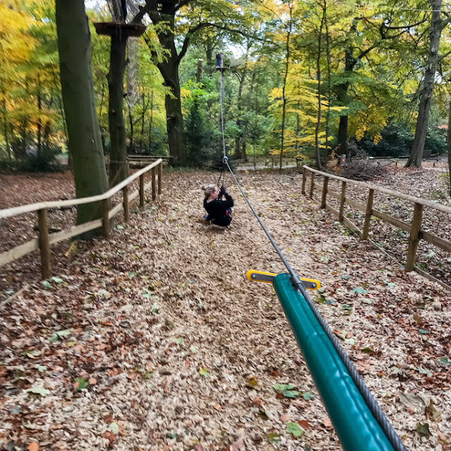 Go Ape at Temple Newsham Leeds - falling at the zip wire