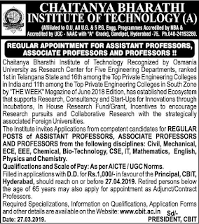 Chaitanya Bharathi Institute of Technology, Hyderabad Recruitment 2019 Associate Professor / Assistant Professor / Professor Jobs