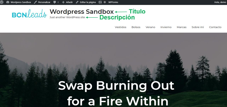 Titulo y descripcion wordpress