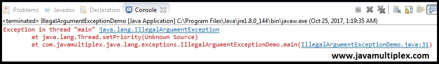 Output of IllegalArgumentException