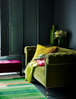 Living room velvet sofa with green pear color