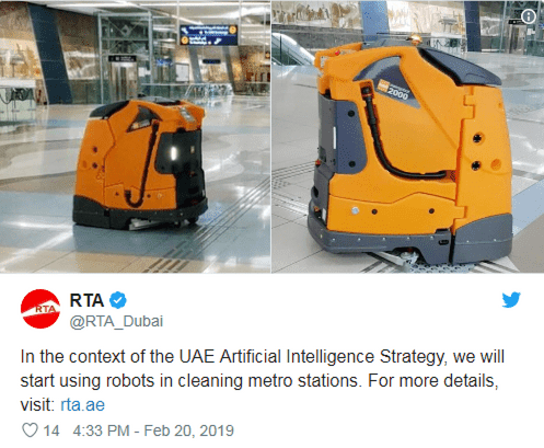 Will RTA in Dubai starts using robot cleaners in metro stations?