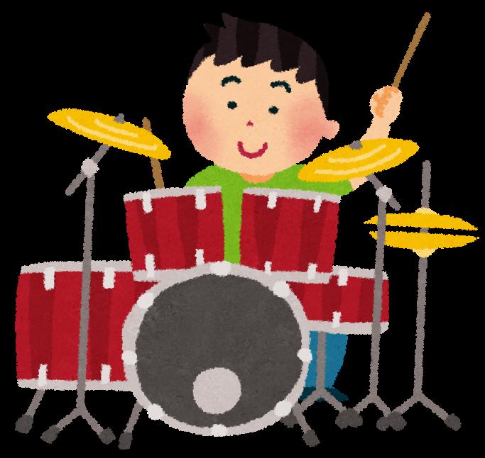 ドラムを叩く人のイラスト「男性ドラマー」 | かわいいフリー素材集 ...