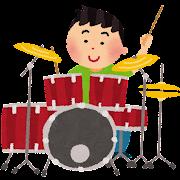 ドラムを叩く人のイラスト「男性ドラマー」