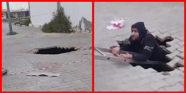 عاجل بالفيديو/ القيروان: سقوط شاب في حفرة ظهرت فجأة بينما كان يمشي على الرصيف