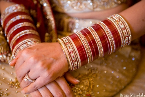 The Ca Ceremony Is Held On Morning Of Wedding Bride S Maternal Uncle And Aunt Give Her A Set Cae 21 Bangles In Red White Ivory