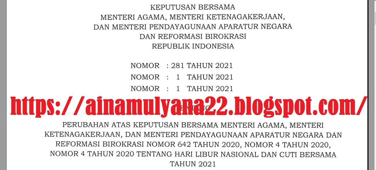 SKB 3 Menteri tentang Perubahan Hari Libur Nasional dan Cuti Bersama Tahun 2021