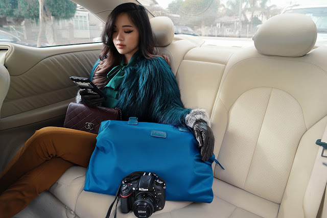 Blue Lipault bag and Chanel bag fashion blogger style
