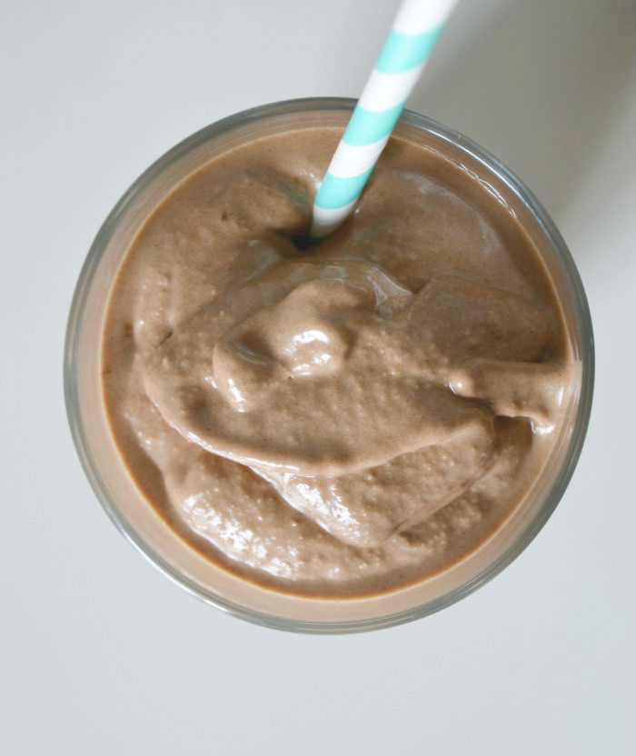 Chocolate peanut butter banana milkshake with vegan option