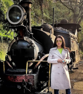 Sanket Kotkar's wife Sweta posing for a picture with a train