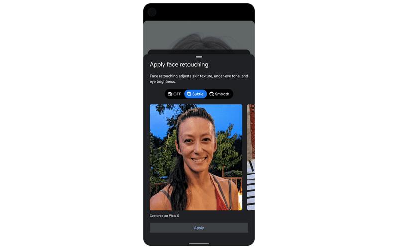 Pixel's face retouching feature
