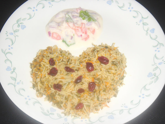 Spinach and Carrots Pulao