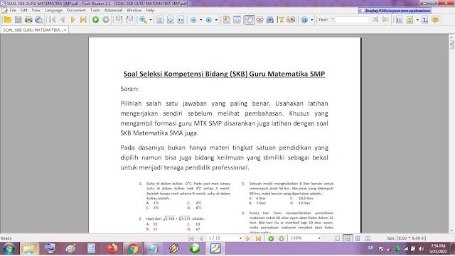 Contoh soal tes P3K/PPPK guru matematika SMP dan kunci jawaban