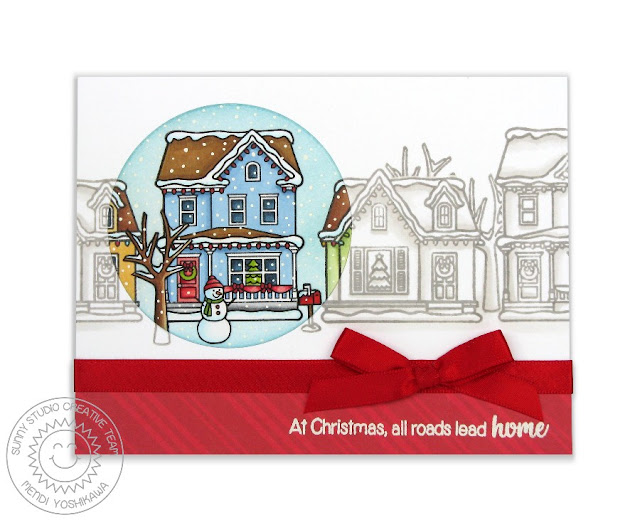 "Sunny Studio Stamps: Christmas Home ""At Christmas, All Roads Lead Home"" Card by Mendi Yoshikawa"