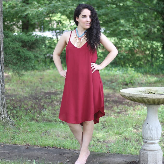 Burgundy Criss-Cross Back Dress