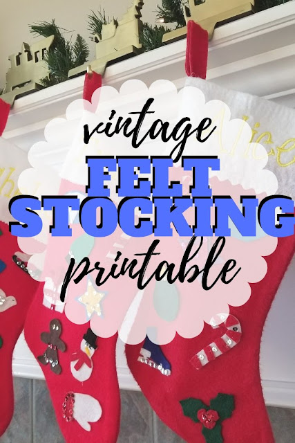 Vintage Felt Holiday Stocking Tutorial and printable Christmas shapes