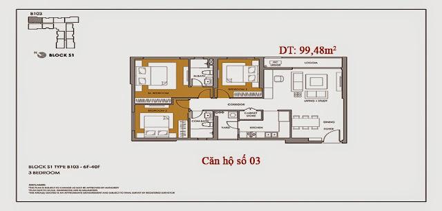 Thiết kế và danh sách căn hộ chung cư Seasons Avenue - căn số 03