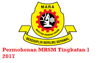 Permohonan MRSM Tingkatan 1 2017 Online