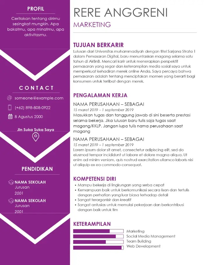 download template cv kreatif word indonesia