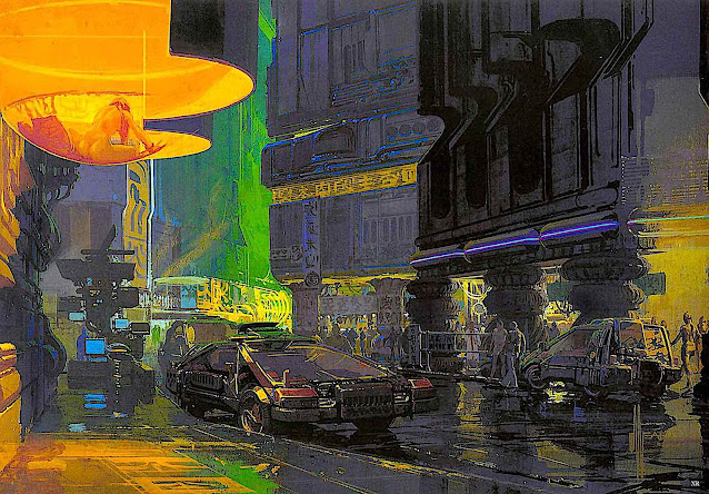 a Syd Mead design for the 1982 movie Blade Runner, originally a 1968 book called Do Andriods Dream Of  Electric Sheep? by Philip K. Dick