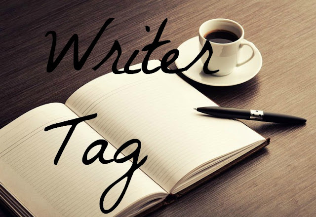 'Writer Tag' text on background of pen, paper, and coffee