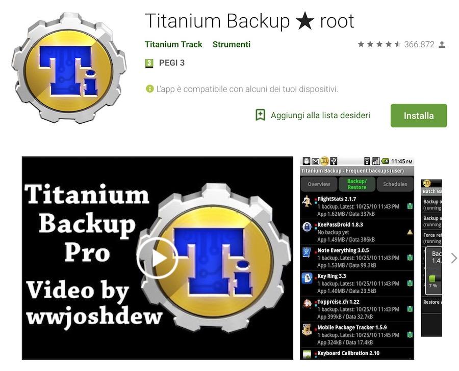 titanium backup, app per salvataggio dati Android