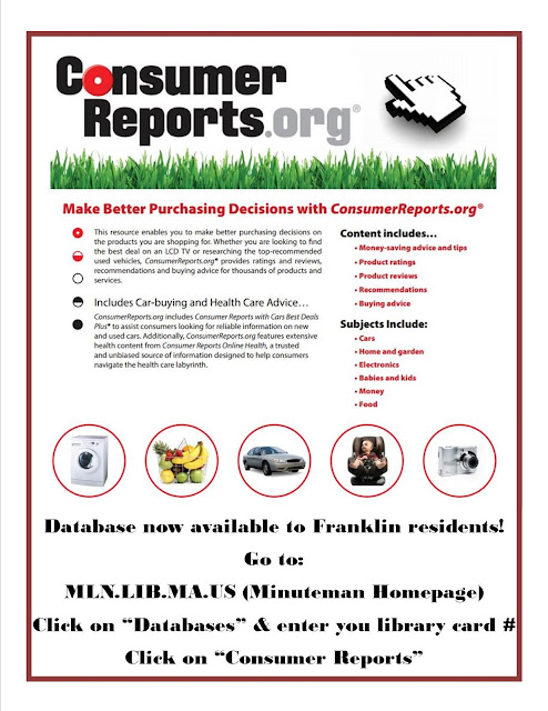 Consumer Reports database now available through the Franklin Library