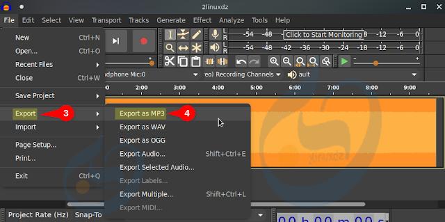 اختيار Export من قائمة File ثم تحديد Export as MP3