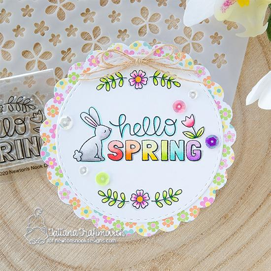 Hello Spring circle Card by Tatiana Trafimovich | Hello Spring Stamp Set by Newton's Nook Designs #newtonsnook #handmade