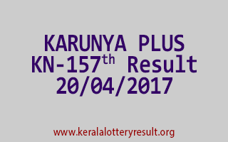 KARUNYA PLUS Lottery KN 157 Results 20-4-2017