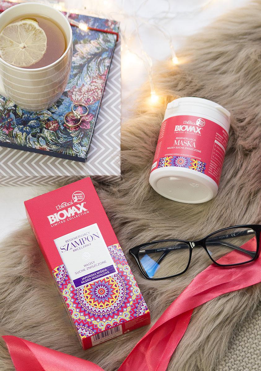 Pielęgnacja suchych włosów z Biovax Japońska wiśnia i mleko migdałowe