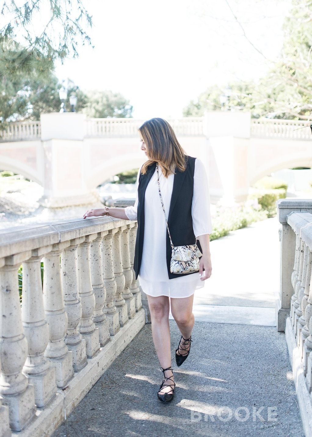 White dress and black vest, san diego fashion blogger, san diego style blogger, chic and simple outfit