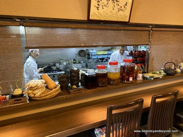 kitchen at Yamabuki restaurant near Zenkoji Temple in Nagano City, Japan
