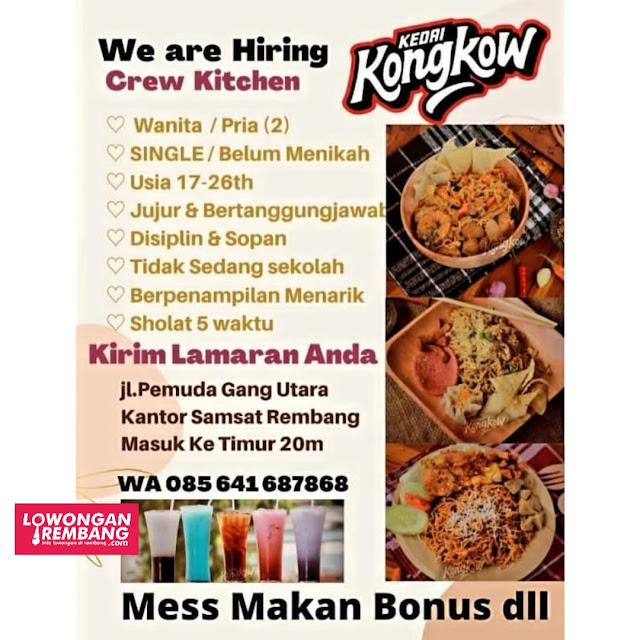 Lowongan Kerja Crew Kitchen Kedai Kongkow Rembang
