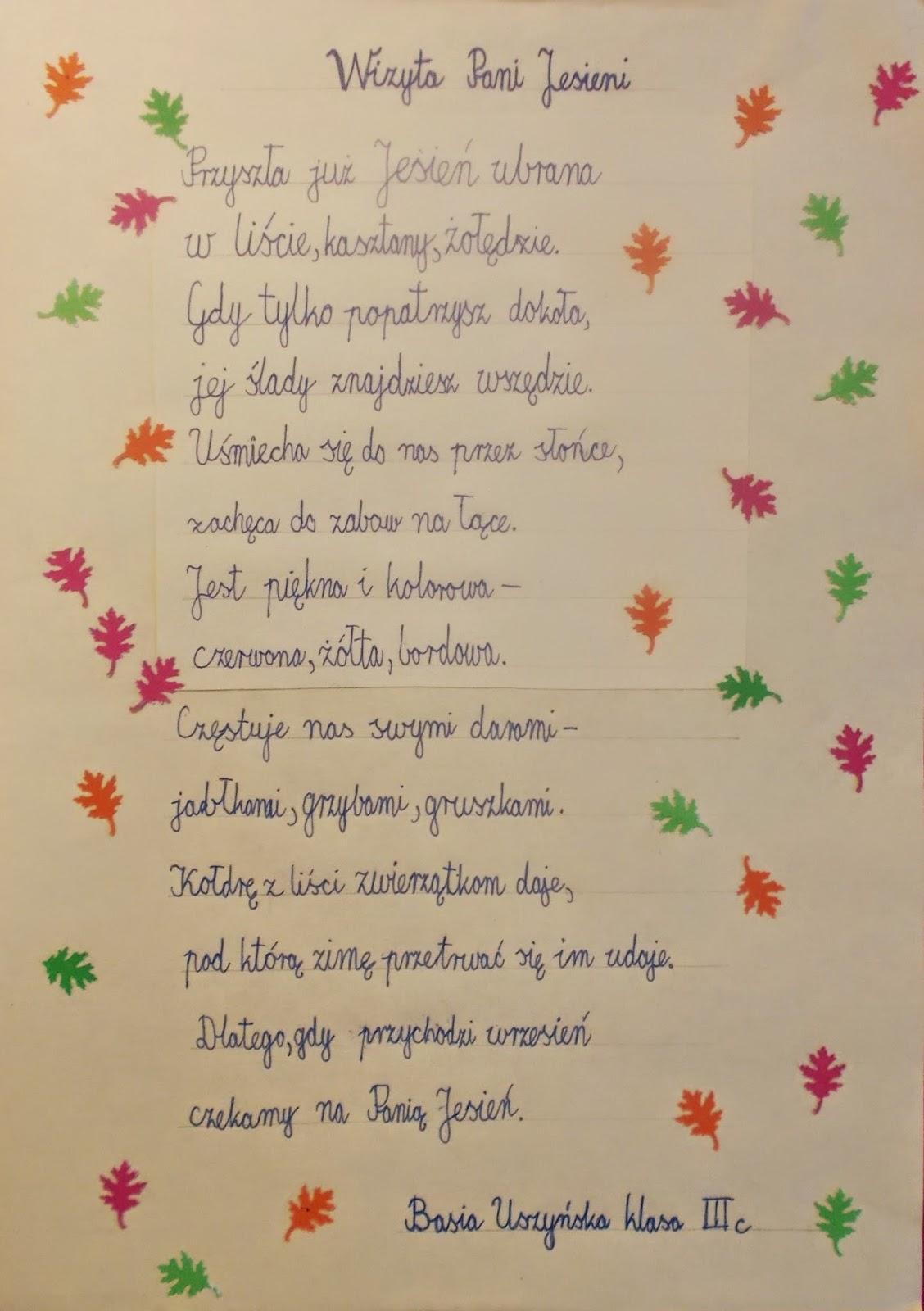 Codziennik Kl 2c Jesienny Wierszyk Konkurs Literacki