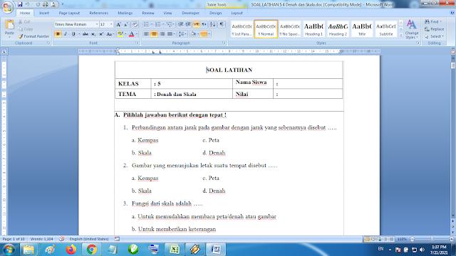 Download Soal Latihan Matematika Kelas 5 SD MI Denah dan Skala K13 Terbaru