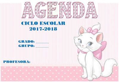 Agenda escolar  para preescolar y primaria para imprimir en Word