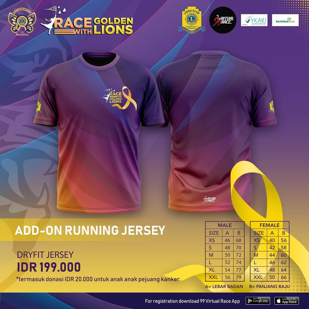 Running Jersey 👕 Race with Golden Lions • 2021