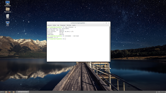 Cinnamon 3.2 sendo executada distribuição Ubuntu 16.04