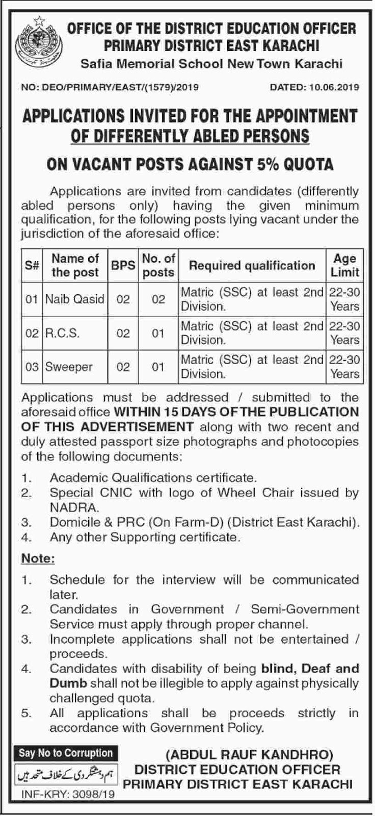 Office of the District Education officer primary District East Karachi June 2019