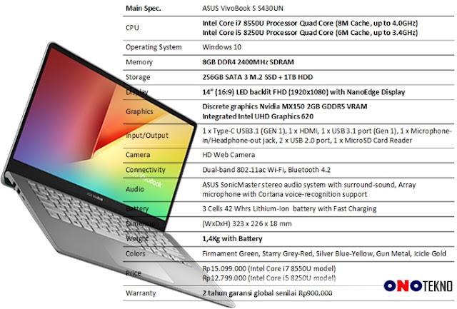 "Asus VivoBook S430 "" Laptop Stylish Nan Bertenaga """