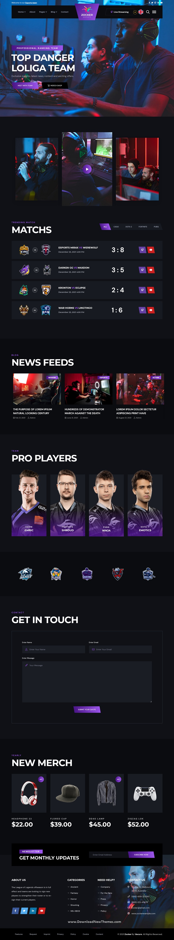 eSports and Gaming Bootstrap Template